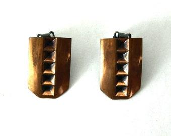 Copper Kettle Clip Earrings