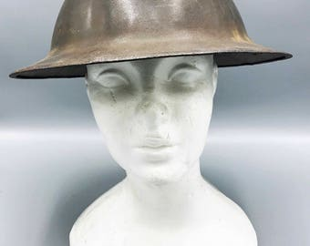 Vintage Antique 1917 WWI Steel Army Helmet, War Collectible, American, British, Military, Combat, History