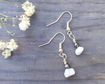 White Stone Earring Set