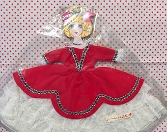 VTG Oike Co Japan Miss Arieana 1/6 Doll Dress Red and White Ruffles