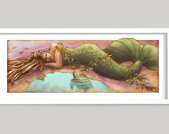 Sleeping Mermaid, Mermaid Art, Beach House Art, Powder Room Art, Tropical Art, Beach Art, ocean art print, turtle art, girl's room art print