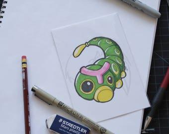 Pokemon Caterpie 4x6 marker drawing