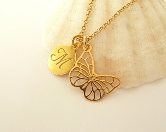 Personalized necklace: butterfly - customized initials necklace - hand engraved necklace, monogram, initials - personalized gift, letter