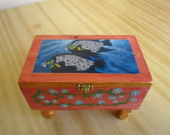 Wooden box with painting, fishes and flowers