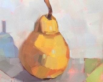 Pear Meditation, 6x6 inch, Original Oil by Bridget Hobson, free domestic shipping