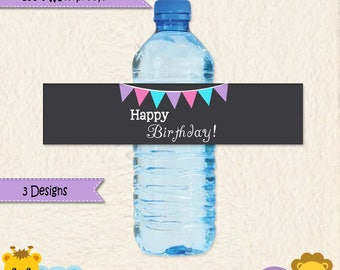 Pink Blue and Purple Water Bottle Labels 100% Waterproof in Chevron Polka Dots and Stripes Custom Colors and Wording Party Decoration D001A