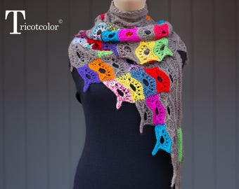 Multicolored Brown tricotcolor shawl wool wool knitted crochet knit yarn scarf accessories