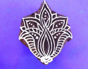 Art Nouveau Flower Wood Hand Carved Stamp Floral Indian Fabric Clay Pottery Print Block