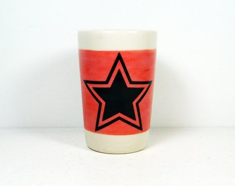 itty bitty cylinder / vase / cup with a star print on a red-orange band READY TO SHIP