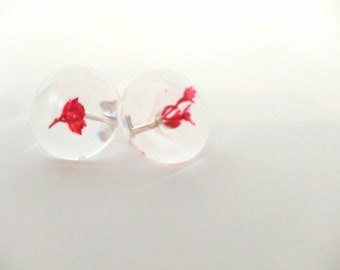 Red Dyed Fuchsia Round Earrings - Cast in resin with 925 sterling silver findings