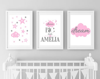 Dream Big Little One Personalised, Dream Big Wall Art, Pink & Grey, Cloud Nursery Print, Cloud Print, Baby Girl Art, Girls Nursery Print Set
