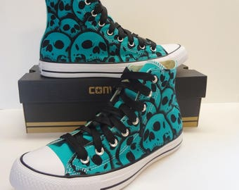 Chuck Taylor Converse All Star Blue US Size 10.5 / Mens US Size 8.5 Custom skull shoes hand painted by RokGear