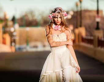 Romantic Rose Garden Inspired Bridal Crown Headpiece