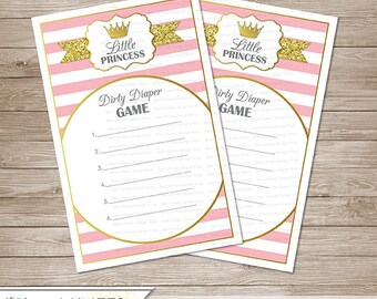 Little Princess Baby Shower Dirty Diaper Game  - Instant Download
