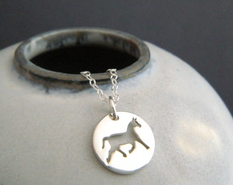 """silver horse necklace horseback riding small sterling equestrian pendant. animal pride lover love charm simple equine jewelry gift 1/2"""""""