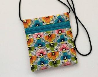 Colorful Crossbody Bag, Floral Crossbody, Zipper Crossbody Bag, Turquoise Crossbody Bag, Hipster Bag, Crossbody purse, Quilted Crossbody bag