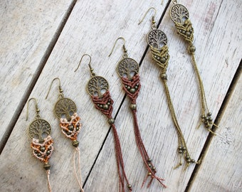 Tree Of Life Macrame Earrings.