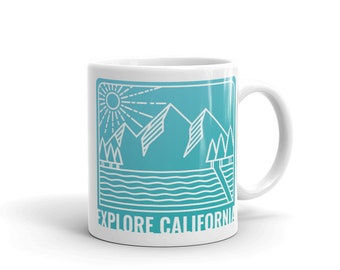 Explore California Teal Mug | Coffee Tea Cup | Vintage Retro Kitchen Mug