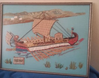 Vintage Embroidered Needlepoint Montage Roman Bireme Ship 1982