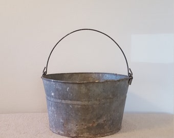 Vintage 14 Diameter 85 Tall Galvanized Bucket Pail Planter Farmhouse Decor Round Metal