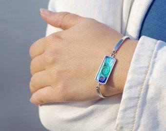 Cloisonne bracelet Blue wave bracelet Sea green jewelry Cloisonne enamel jewelry Ocean inspirational bracelet Fantastic gift for women