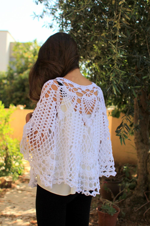 Crochet poncho pattern Lacy pelerine PDF Bride wedding poncho cape ...