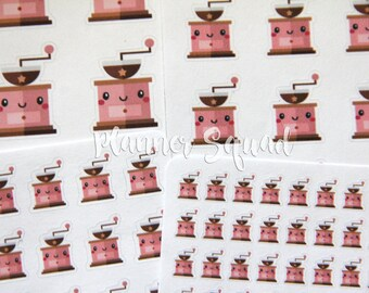 Coffee Bean Grinder Kawaii Style Planner Stickers - 1 Sheet (Choose from 4 sticker sizes - perfect for planners and planning)