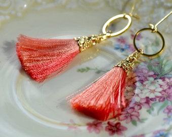 Orange Tassel Earrings, Mango Earrings, Pink Grapefruit Drop Earrings, Boho Tassel Jewelry, Summer Accessories, Girlfriend Gift for Her
