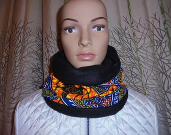 Shipping fast Snood neck scarf black fleece and wax.