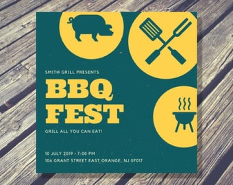 Blue and Yellow Grill BBQ Fest Party Invitation - Printable