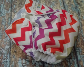 Newborn AI2 Cloth Diaper Organic Cotton Pastel Chevron Made to Order All in Two PUL