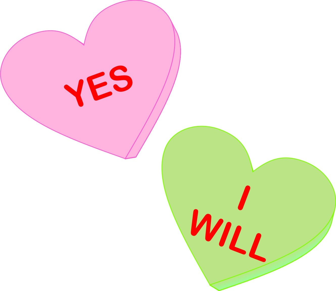 Yes I Will Conversation Heart Valentines (or not) Engagement T Shirt ...