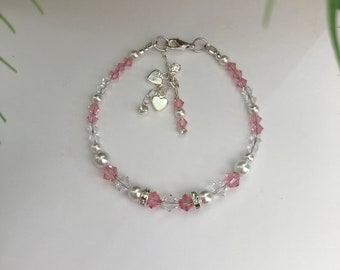 Pink and Clear Swarovski Crystal and White Pearl Bracelet with Accent Charms - Ladies