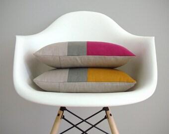 Decorative Pillows, Colorblock Pillow Cover in Raspberry or Marigold Linen with Stone Grey Stripe by Jillian Rene Decor, Modern Decor FW2015