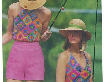 PDF Vintage Crochet Pattern Granny Halter Tops