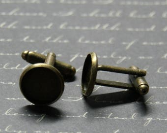 2 blank cuff links bronze 26x14mm
