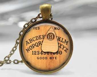 Personalized Jewelry Ouija Board Necklace You Choose the Letter Halloween Art Pendant in Bronze or Silver with Link Chain Included