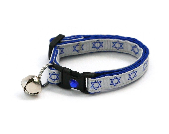 Hanukkah Cat Collar - Star of David on Silver - Small Cat / Kitten Size or Large Size