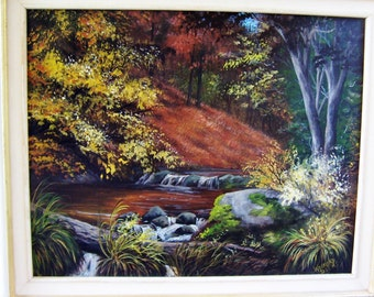 FALL SERENITY original acrylic paiinting, fall scene, orange,yellow, brown,trees,water,creek,woods,