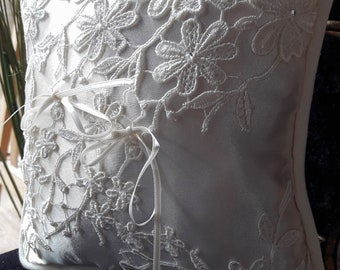 satin wedding ring pillow lace and pearls