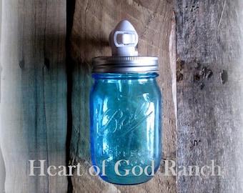 Peyton's Light - Blue Mason Ball Jar Rustic Night Light, Upright Only