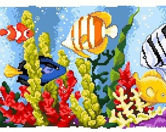 Colorful Fishes and Corals -Cross Stitch Pdf Pattern