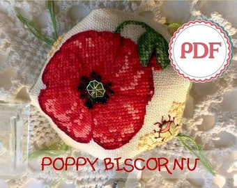 Poppy Stitched Biscornu PDF Pattern \ Embroidered Pincushion with Flowers and a Beetle \ Instant download PDF