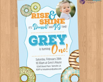 Donut & PJ Birthday Party Invitation