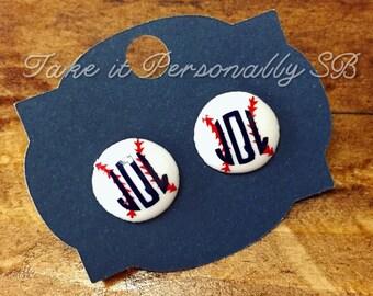 Baseball Monogram Earrings - Softball Monogram Earrings - Baseball Jewelry - Softball Jewelry - Baseball Mom - Softball Mom - Personalized