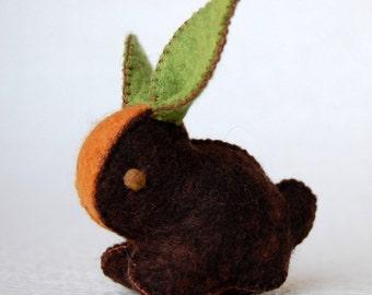 Dark Brown CARROT BUNNY Rabbit Handmade Felt TOY Pure Wool Unique Ecofriendly