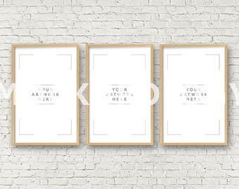 11x17 DIGITAL DOWNLOAD FILE Frame Mockup, Styled Photography Poster Mockup, White Brick Background, Triptych, Instant Download