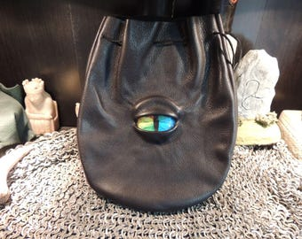 Large  Black Leather Bag with Rainbow Eye---New Style---