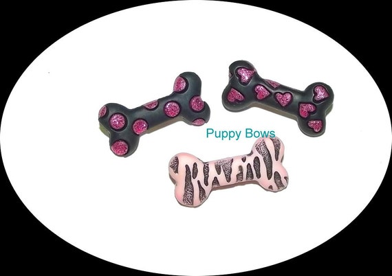 Puppy Bows ~ girls barrette pink black bone Yorkie topknot dog bow pet hair clip