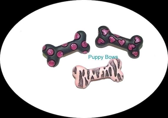 Puppy Bows ~ girls barrette pink black bone Yorkie topknot dog bow pet hair clip